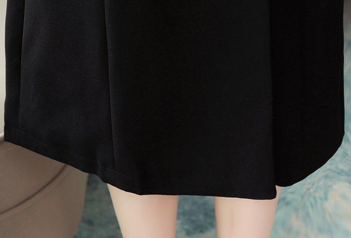 Retro black slim dress V-neck autumn France style skirt