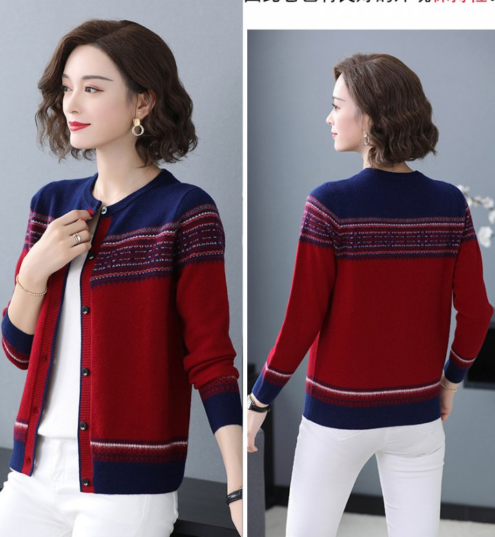 Winter knitted sweater mixed colors cardigan for women