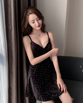 Butterfly sexy sling velvet slim dress