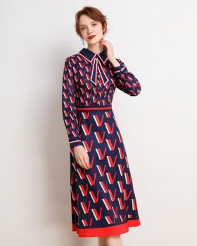 Long printing fashion European style temperament dress