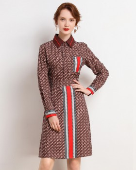 Temperament printing pinched waist long sleeve dress