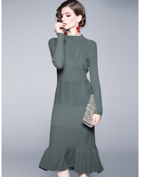 Half high collar knitted long sleeve mermaid dress for women