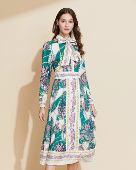 Bow pinched waist shirt printing European style dress
