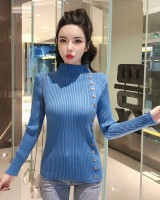 Thick pure tops half high collar thermal sweater for women