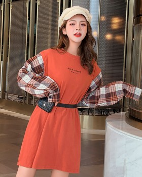 Splice long dress autumn sueding sleeve tops for women