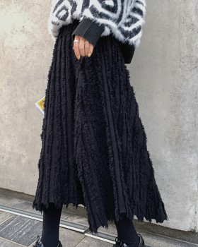 Knitted tassels elegant long irregular skirt