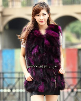 Korean style fox fur vest antique silver long coat for women