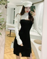 Hollow long sleeve all-match knitted sexy winter dress