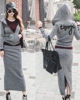 Casual embroidery cardigan sports long skirt 2pcs set for women