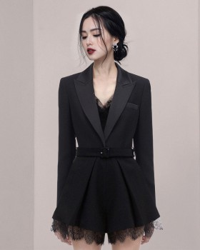 Fashion European style lace sexy lapel jumpsuit for women