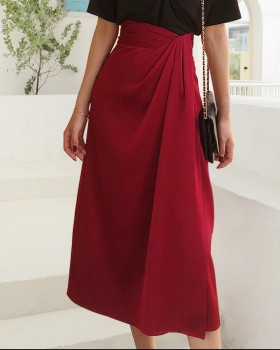 Slim autumn European style long split skirt