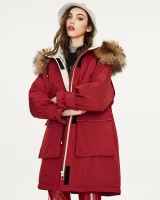Hooded loose down coat fashion long coat for women