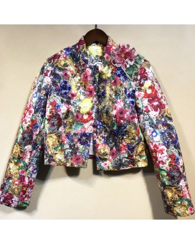 Autumn printing jacket short coat for women