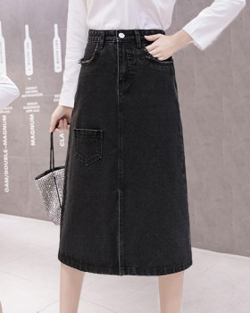 Many pocket fresh black skirt split cozy long skirt