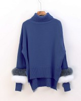 Long and short in front loose European style sweater