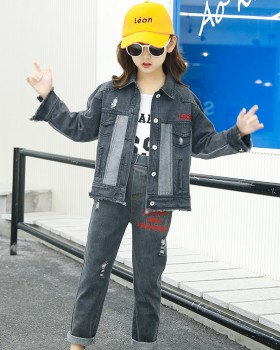 Big child long Children's Pants denim coat 3pcs set for women