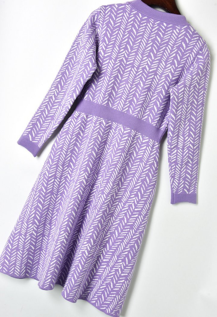 Winter pinched waist knitted long sleeve dress