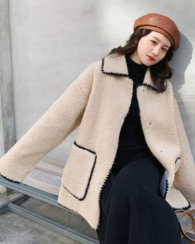 Winter fashion and elegant lamb fur long fashion coat