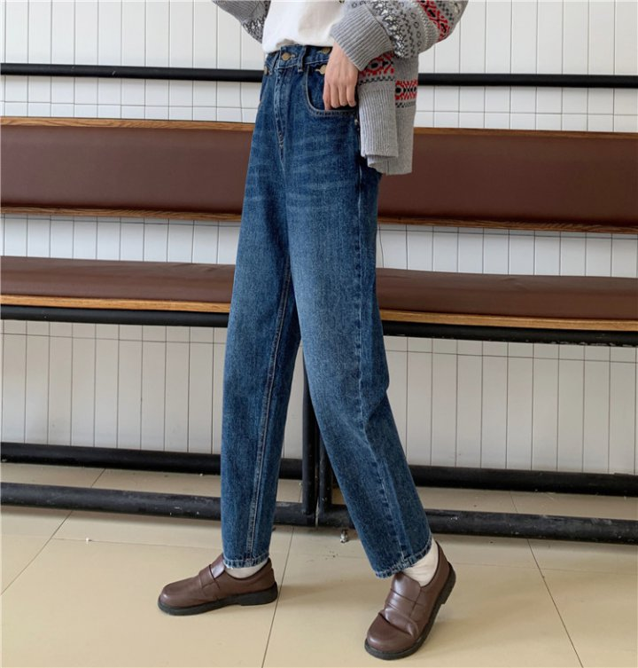 Buckle long pants loose jeans for women