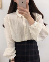 Long sleeve autumn simple pure all-match sweet shirt