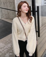 All-match short cardigan imitation of mink velvet coat