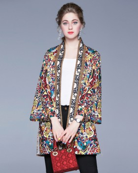Slim long exotic cloak loose printing national style coat