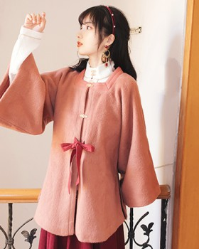 Square collar woolen overcoat winter long cloak
