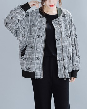 Clip cotton slim fat cardigan autumn and winter Casual coat