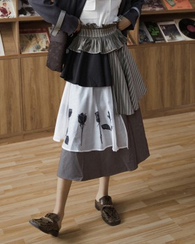 Cake rose printing long splice autumn and winter wear skirt