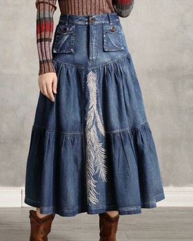 Autumn retro skirt denim all-match long skirt