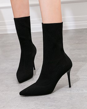 High-heeled knitted ankle boots fine-root slim boots