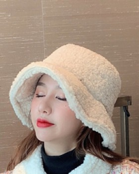 Autumn and winter lambs wool thermal hat for women