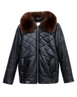 Casual leather coat fur collar cotton coat for women