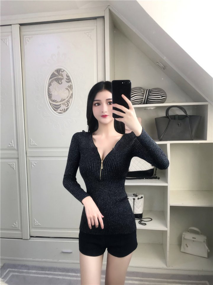 Long sleeve V-neck knitted sexy slim tops