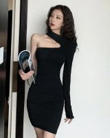 Strapless package hip unique bottoming black slim dress