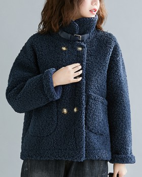 Lambs wool short overcoat lapel cstand collar cardigan