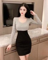 Sexy slim autumn bottoming package hip mixed colors dress
