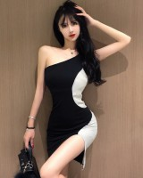 Slim mixed colors package hip dress sexy split strap dress