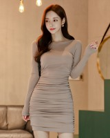 Slim autumn and winter package hip bottoming dress
