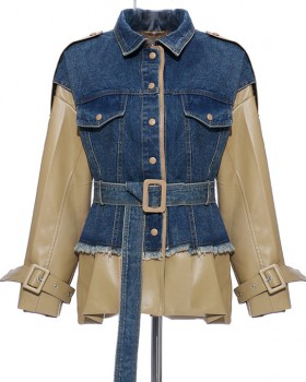 Personality leather coat stitching leather jacket