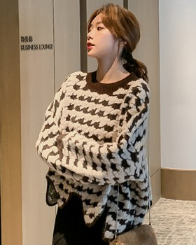Houndstooth autumn and winter Korean style sweater for women