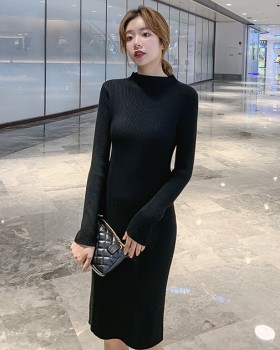 Knitted long sweater dress exceed knee dress for women