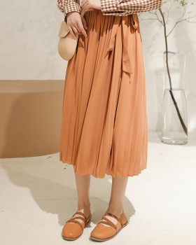 Sweet high waist pleated skirt frenum all-match long skirt