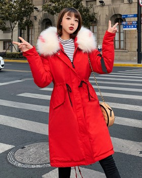 Thick down cotton coat Korean style long coat for women