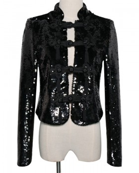 Pinched waist sequins retro jacket slim shiny tops