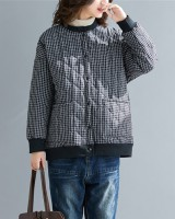 Clip cotton thermal cardigan round neck loose tops