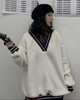 Lambs wool mixed colors shirt Japanese style hoodie