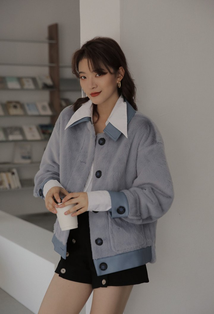 Loose Korean style imitation of mink velvet coat