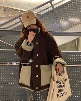 Korean style all-match cstand collar lambs wool coat