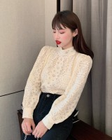 Long sleeve Korean style shirt Western style hollow tops